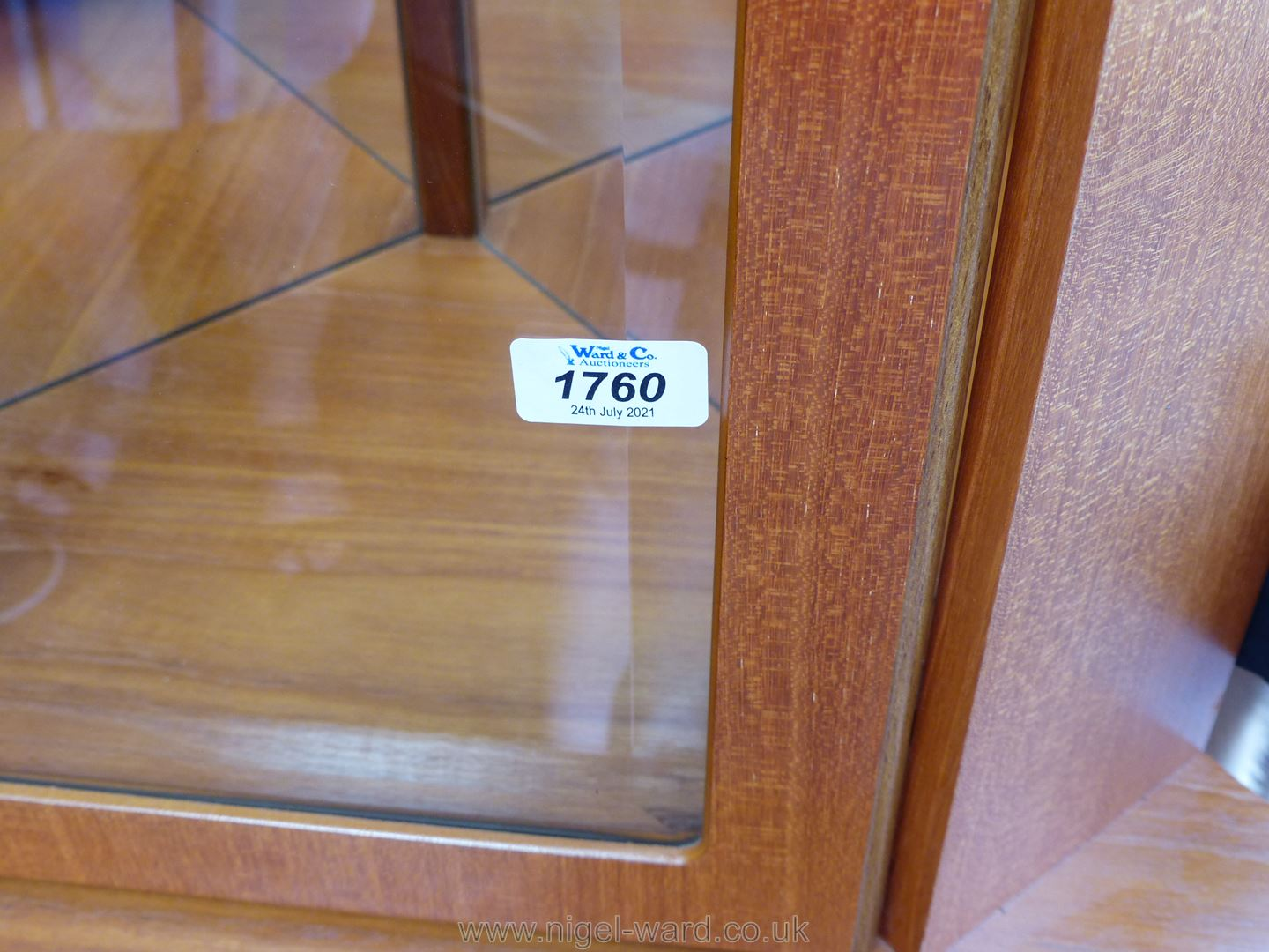 A contemporary Teak finished full height Corner Cabinet on cupboard having a bevelled glazed door, - Image 2 of 2