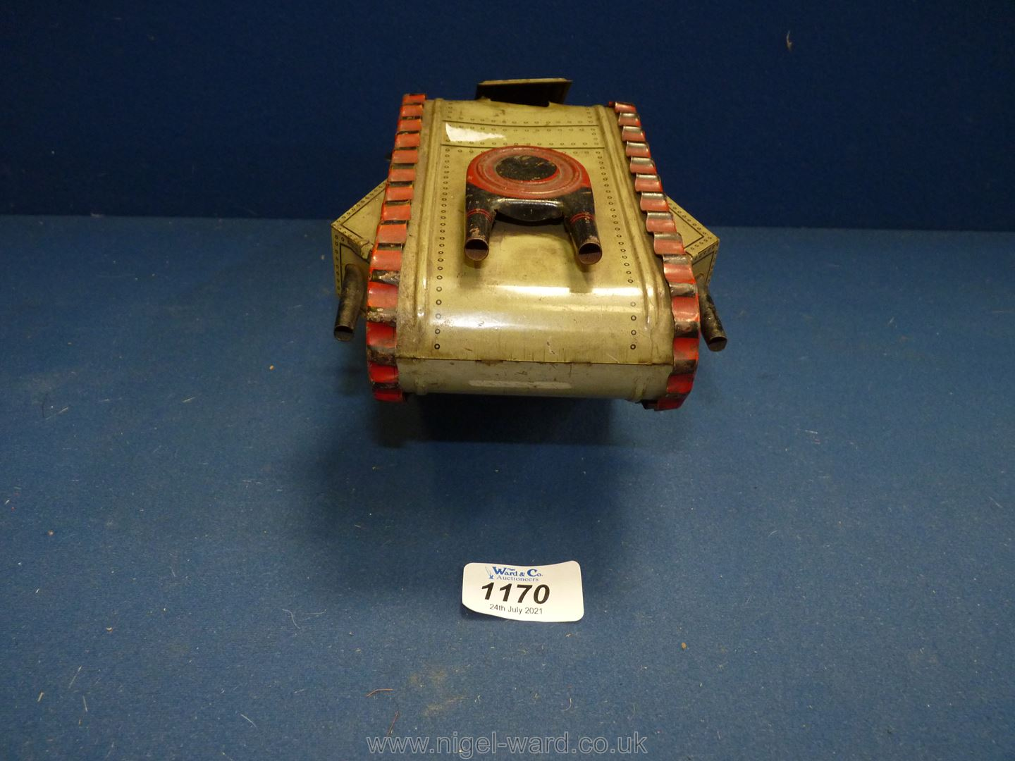 A German made tin plate clockwork toy of a Mark IV-type tank with spring loaded soldier, circa 1925, - Image 2 of 4
