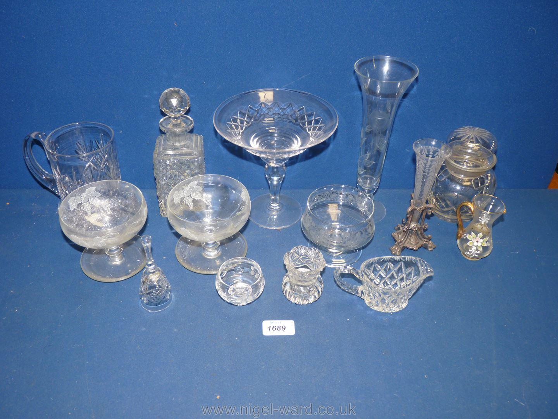 A small quantity of glass including cut glass tankard, Stuart comport, bell,