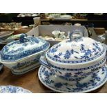 A large Minton Delft pattern soup tureen on large platter (no ladle),