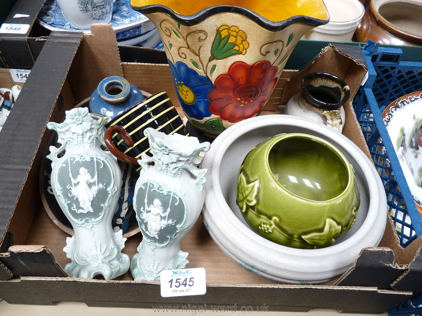 A quantity of pottery including Brentleigh ware cream and floral vase, Dartmouth pottery bowl,