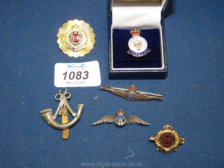 Six enamelled Military badges.