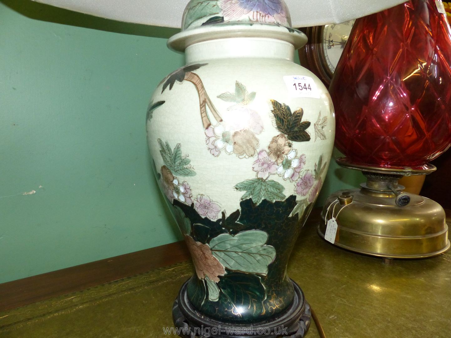 An oriental style table lamp and shade, - Image 2 of 3