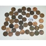 A quantity of farthings totalling 10 3/4d including Victoria, Edward VII, George V and VII.