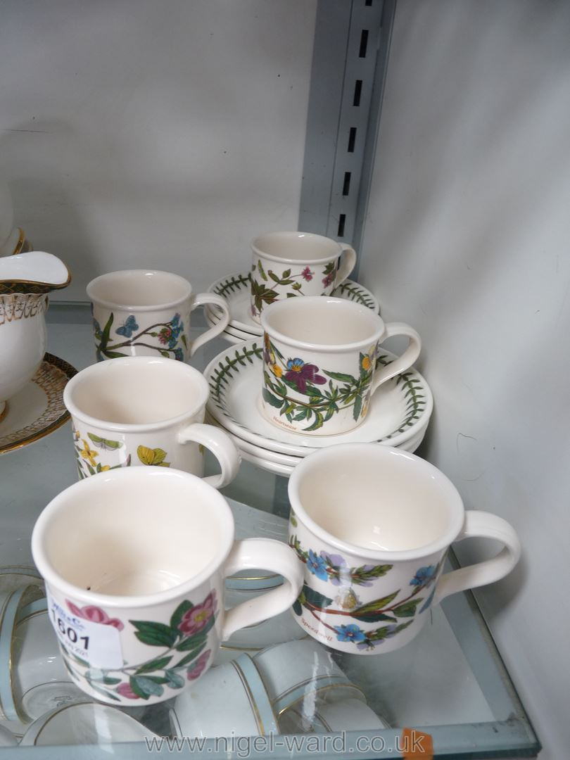 Six Portmeirion 'Botanic Garden', coffee cups and saucers.