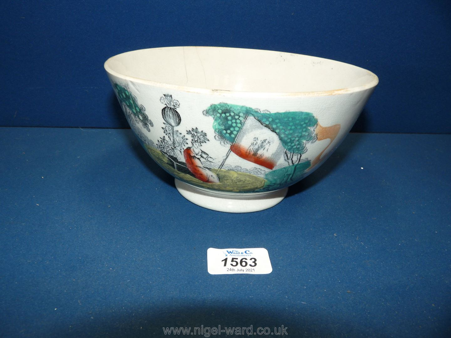 An attractive Sunderland lustre bowl with a transfer of the Gardeners Arms and motto, circa 1870.