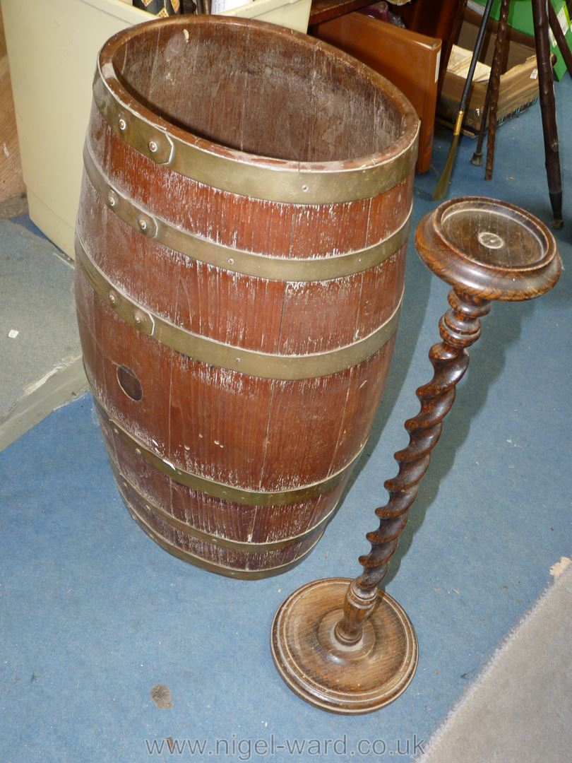 An ovoid coppered Barrel with coat of arms to front, - Image 4 of 4