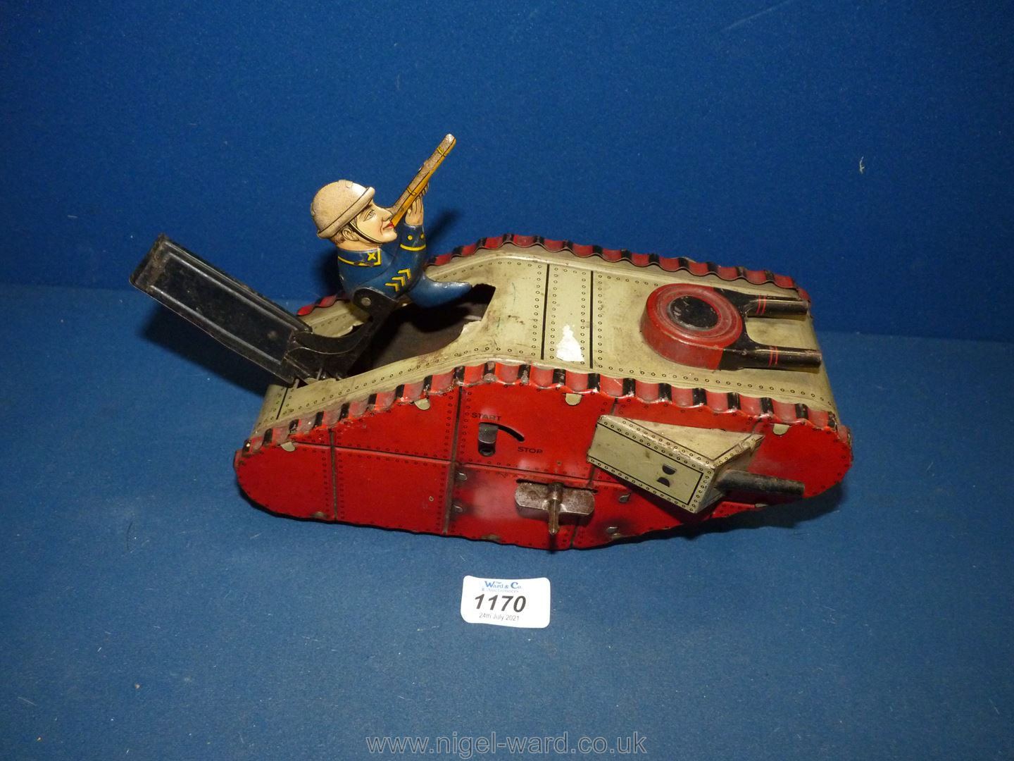 A German made tin plate clockwork toy of a Mark IV-type tank with spring loaded soldier, circa 1925, - Image 4 of 4