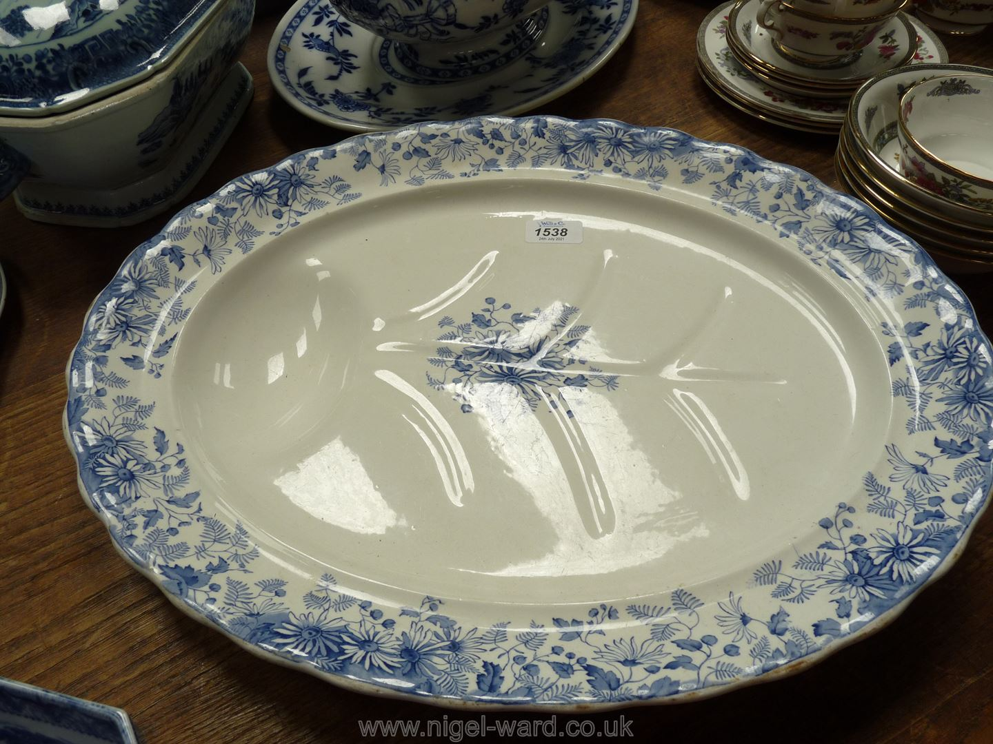 A Furnivals blue and white meat plate.