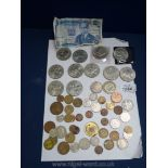 Miscellaneous commemorative Crowns and other coins and a Kenya twenty shilling note.