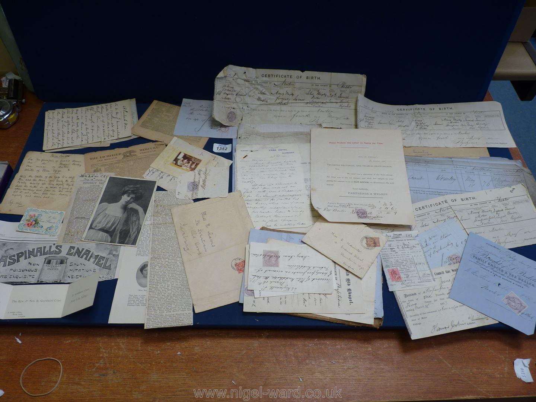 A quantity of Ephemera including old recipes, birth certificates, letters, Raglan Estate etc. - Image 2 of 2