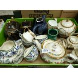 A box of miscellaneous china to include; Sadler three piece Teaset, Price teapot, Burslem tea set,