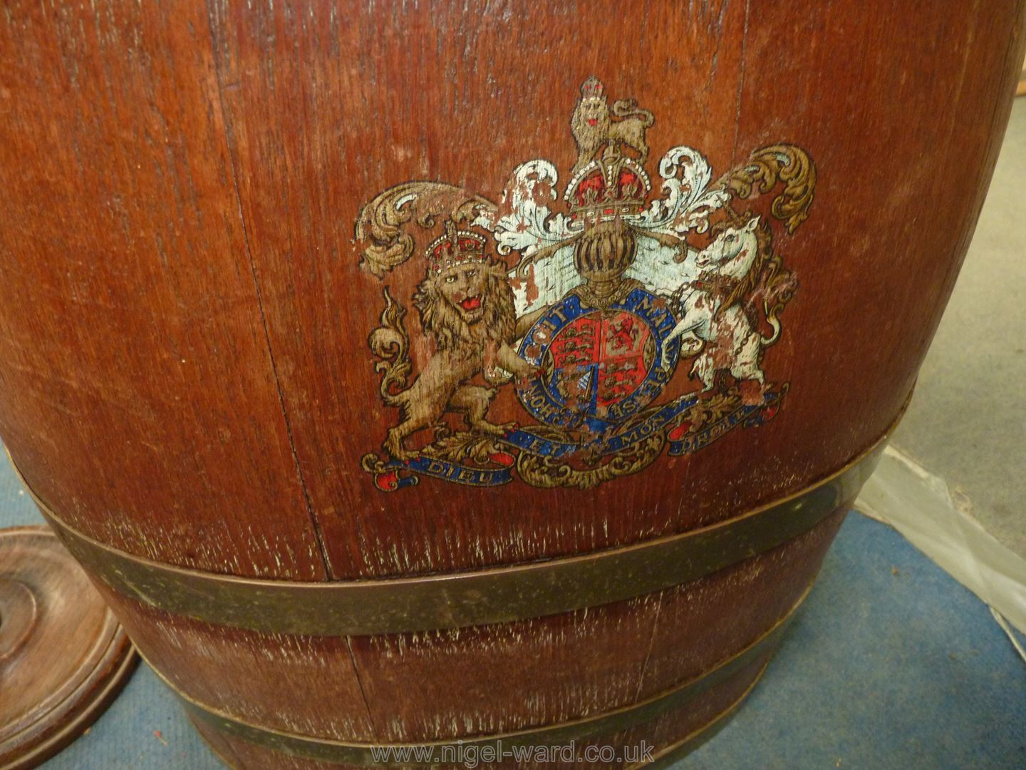 An ovoid coppered Barrel with coat of arms to front, - Image 3 of 4