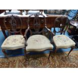 Three elegant Mahogany framed side Chair having delicate fretworked and caned backs,
