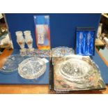 A glass cake stand, footed glass bowl, two boxed Pearl wedding anniversary champagne flutes,