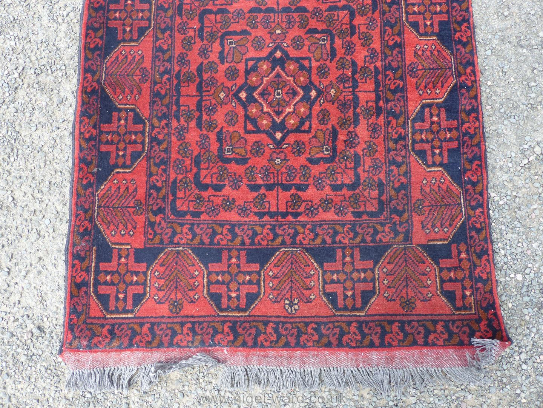 A long Afghan Kahn hall runner, 100% wool, 487 cm x 77 cm. - Image 2 of 7