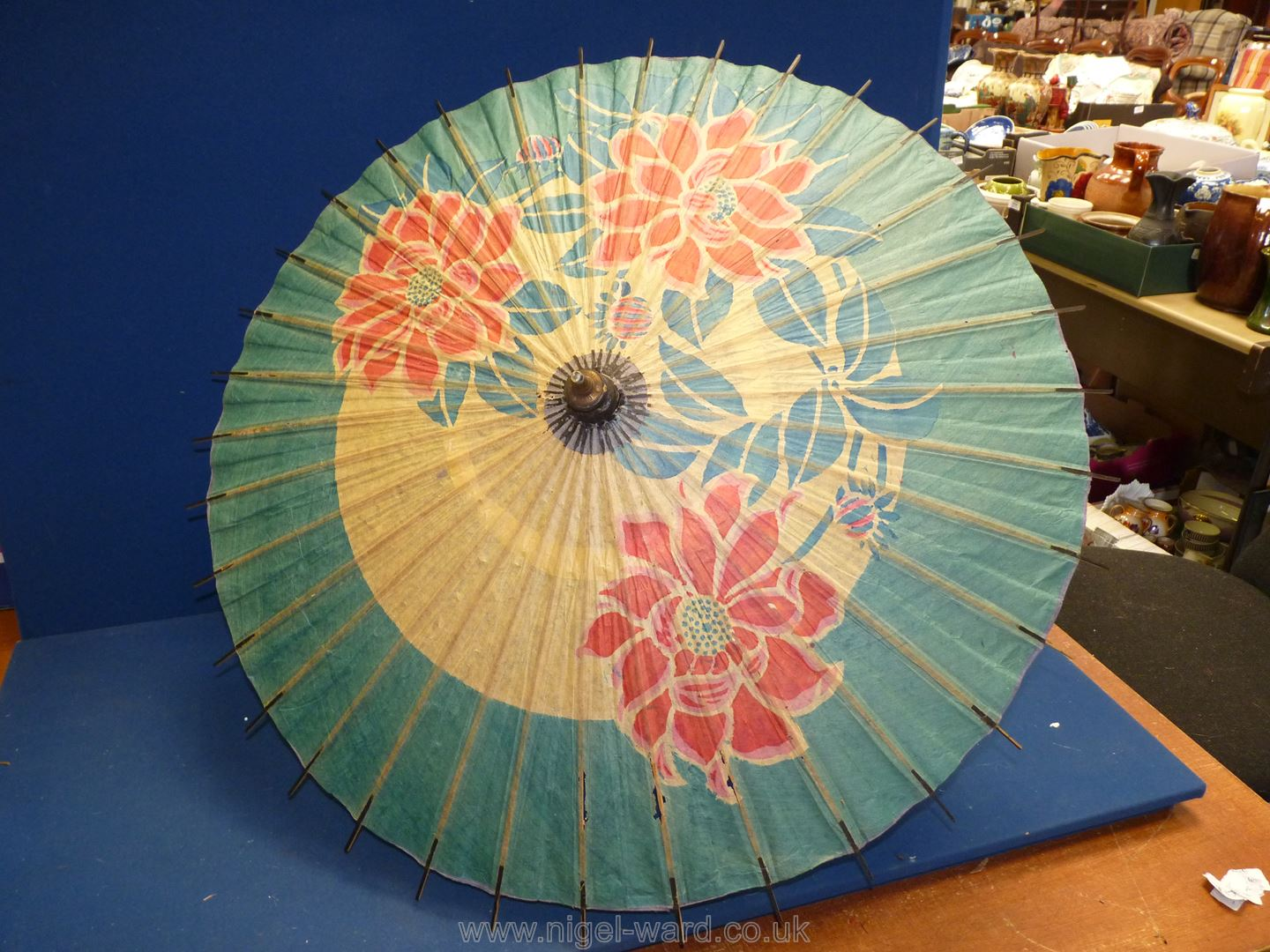 A Barometer together with a vintage parasol a/f. - Image 3 of 4