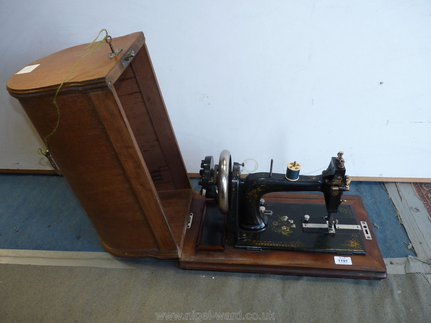 A Naumann Hand Sewing Machine in wooden case. - Image 2 of 3