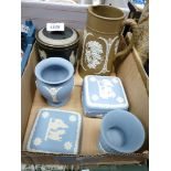 Four pieces of blue of Wedgwood Jasperware,