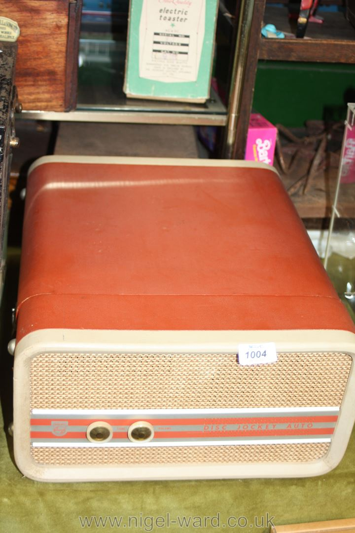 A Phillips 1960's record player in terracotta coloured case. - Image 2 of 3