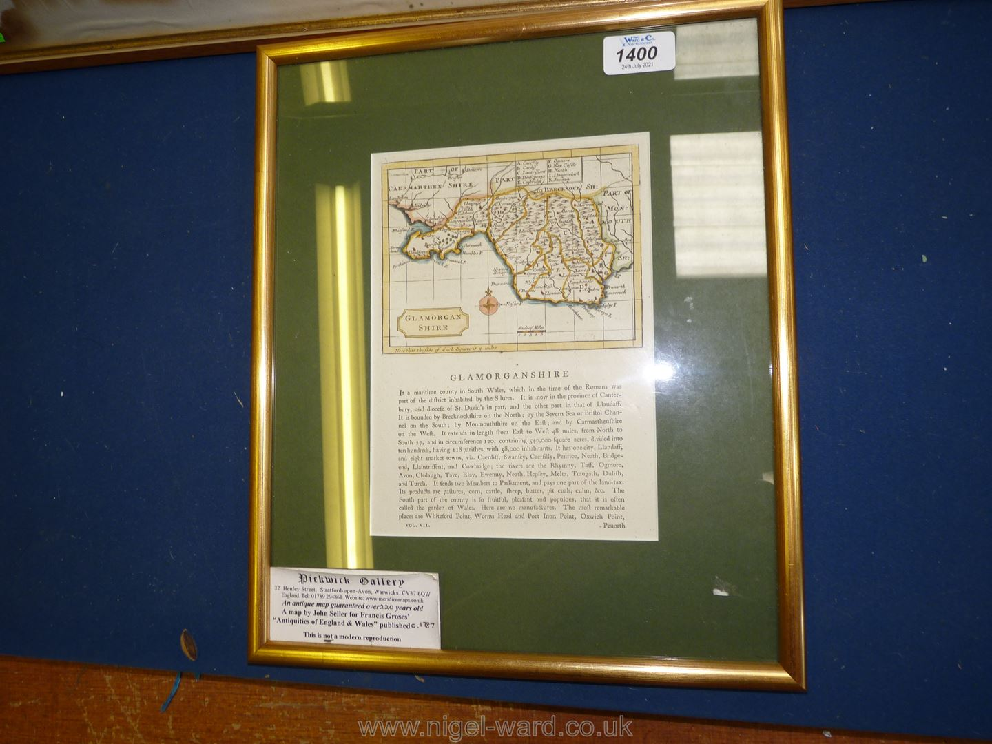 """A large map of Suffolk (water damage), 33 1/2"""" x 26 1/2"""" and small map of Glamorganshire. - Image 2 of 3"""
