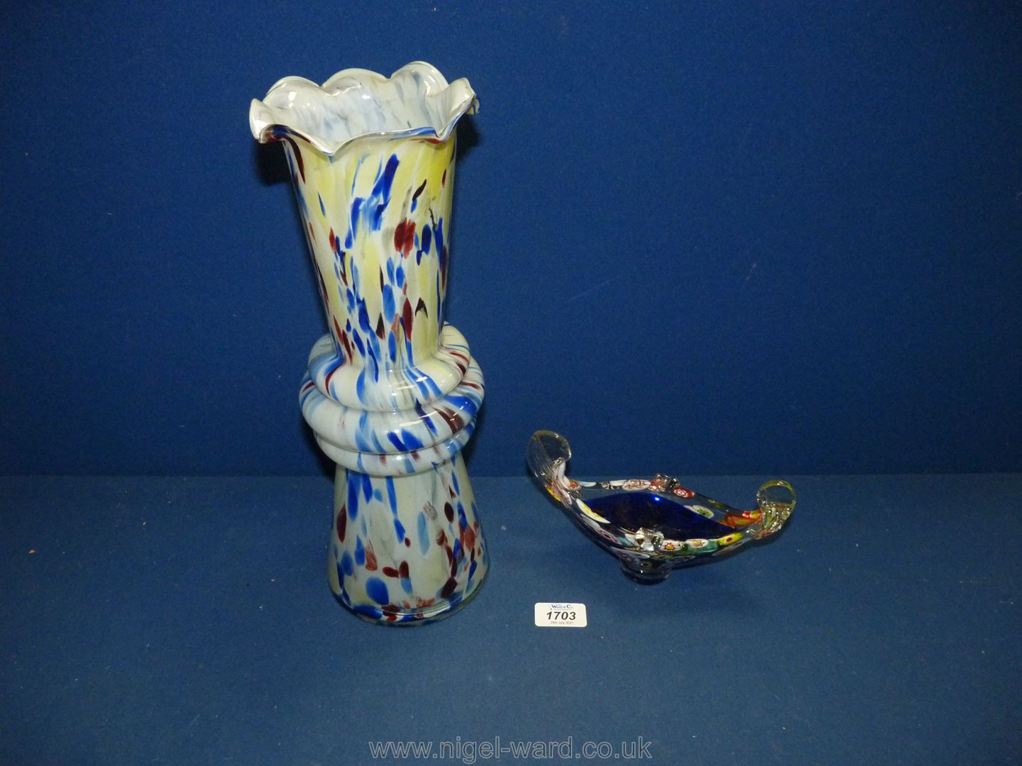 Two pieces of End of day glass including tall vase with fluted rim, 14'' tall and boat shaped bowl.