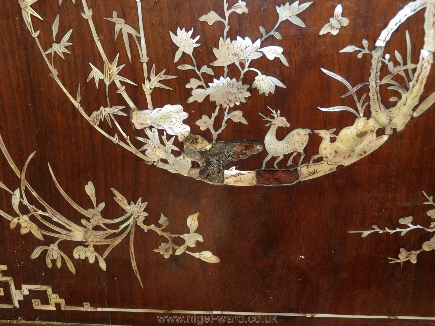 A Chinese wooden Tray profusely decorated with Mother of Pearl inlay depicting flowers, etc. - Image 2 of 3