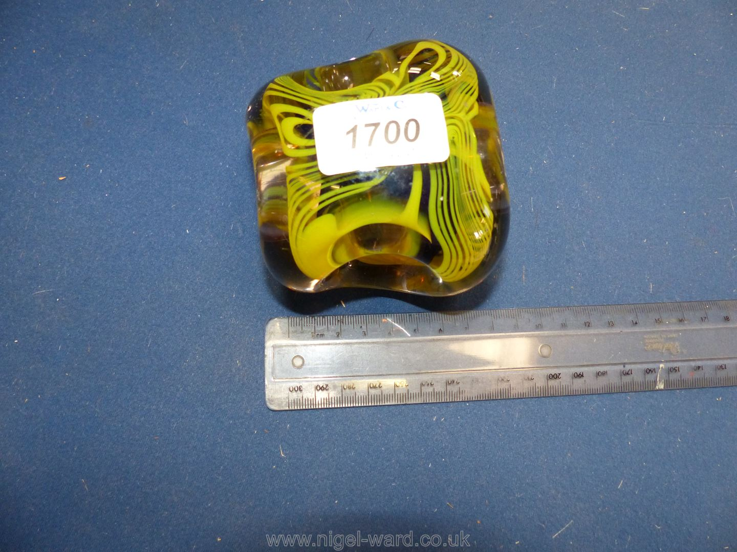A Karlin Rushbrooke paperweight in yellow and black, - Image 4 of 6