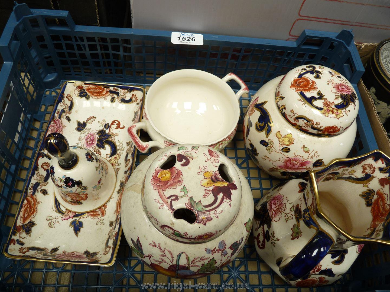 A small quantity of Masons 'Mandelay' china including jug, bell, ginger jar etc,