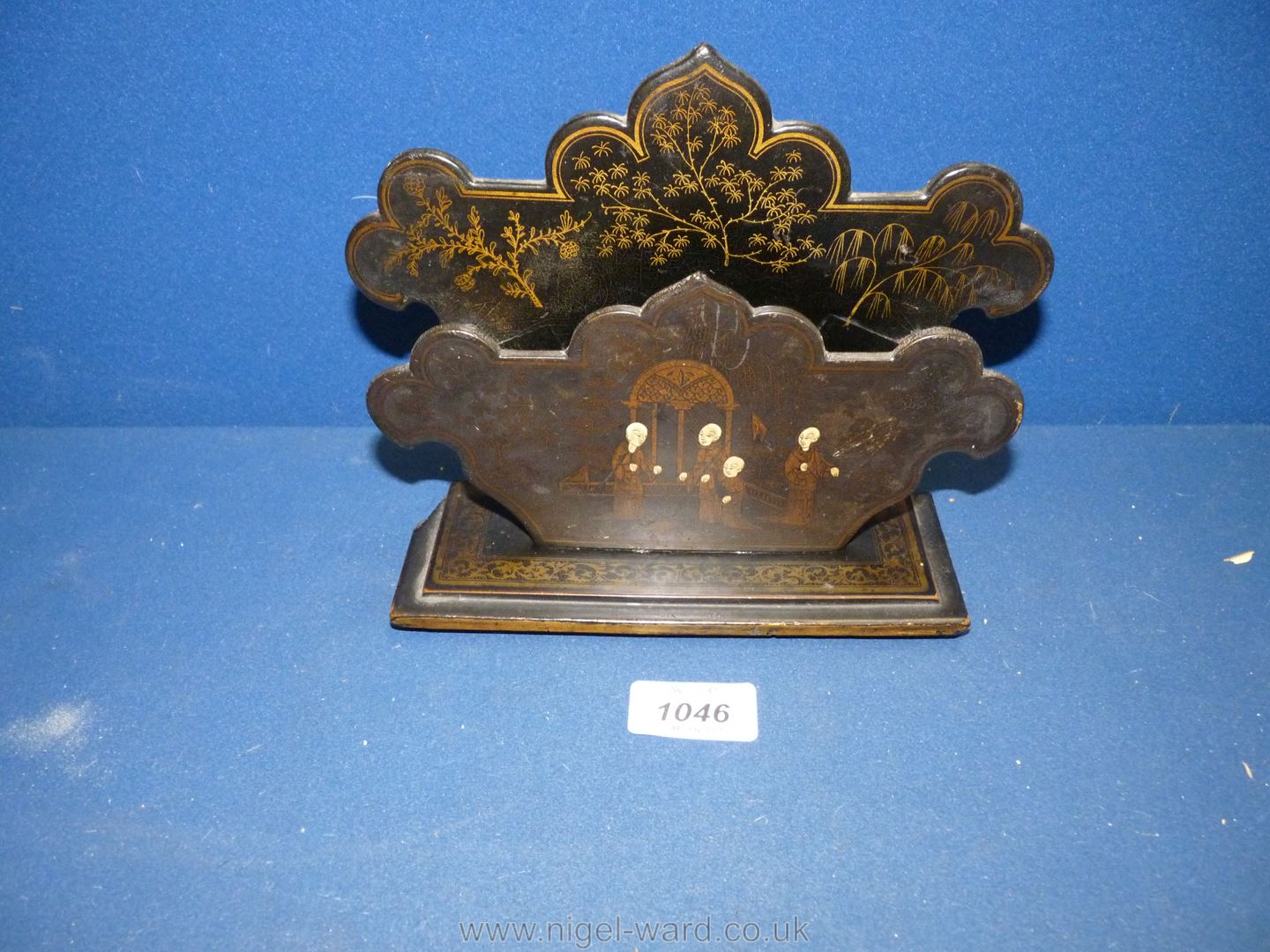 A black lacquered letter Rack decorated in chinoiserie style, a/f,