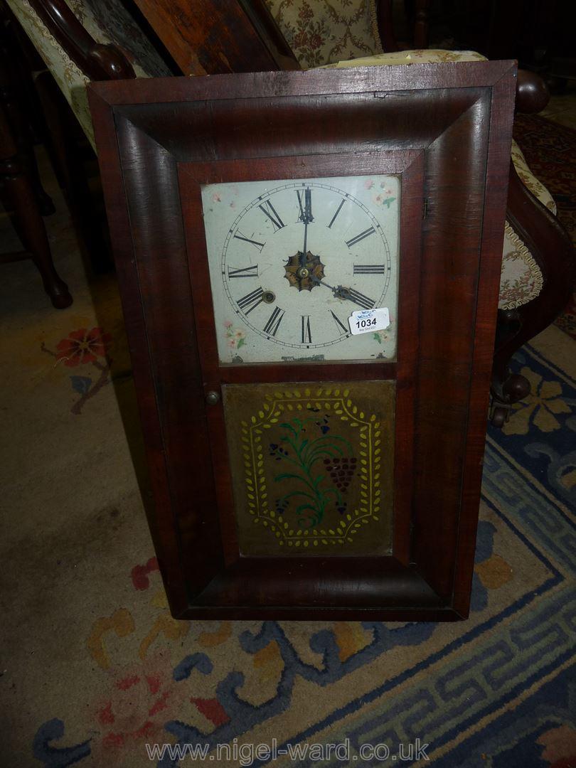 A veneered cased American Wall Clock,