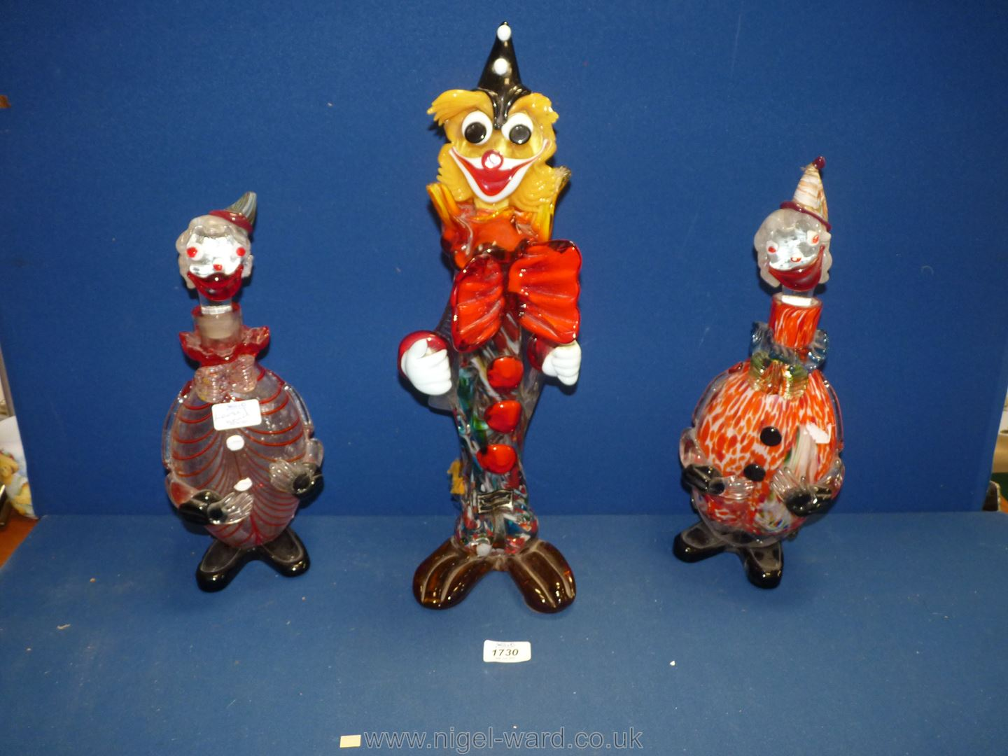 A tall Murano glass Clown, 18 1/2'' and two Clown decanters, 14'' and 14 1/2'' tall. - Image 2 of 2