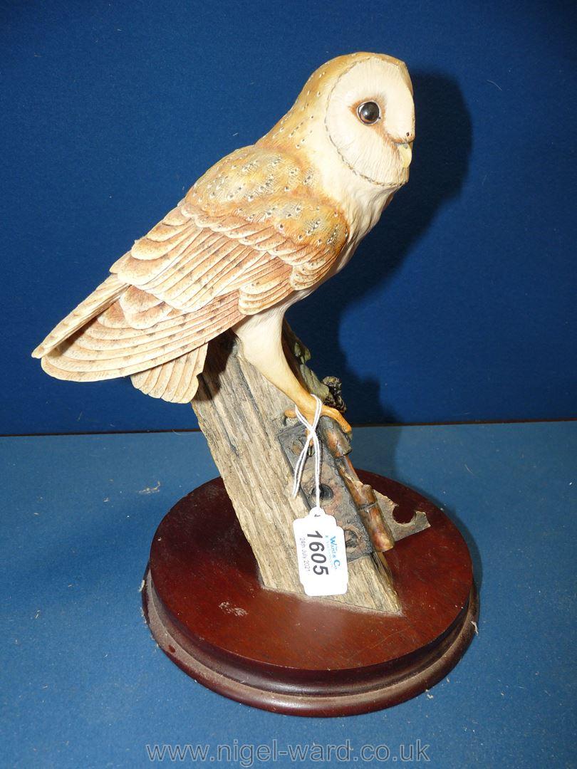 "A Border Fine Arts 1990 Barn Owl on a firm base, 11"" x 9"","