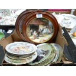 Two Royal Doulton wall plates, The Saddle maker and Dogs in action together with Royal Worcester,