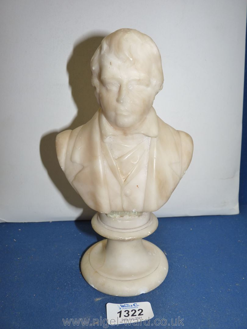 A mid 19th Century carved marble bust of Sir Walter Scott;