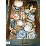 A quantity of oriental style china including cups and saucers, small basket,