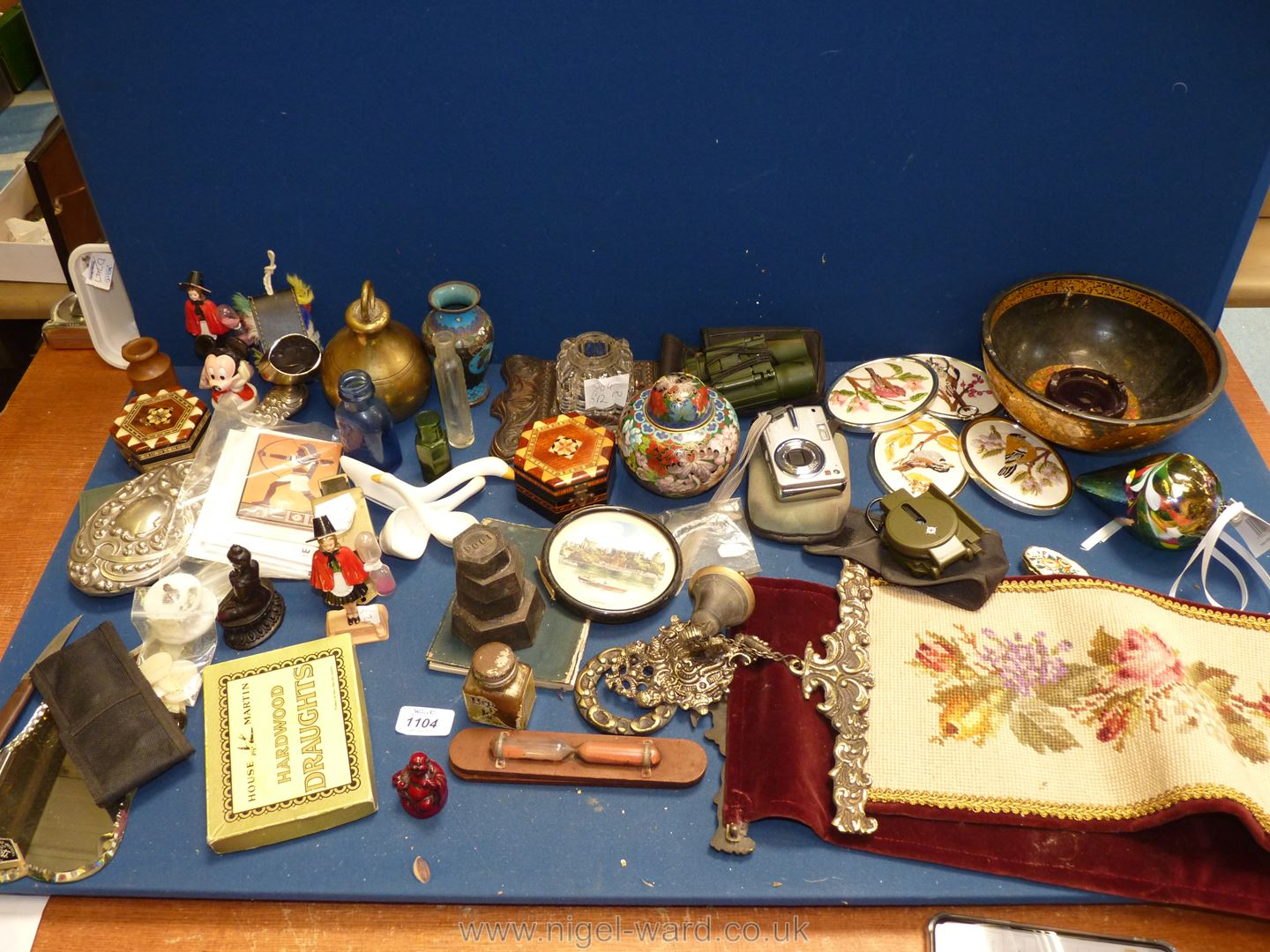 A quantity of miscellanea including souvenir egg timers, large brass weight, cloisonne jar and vase,