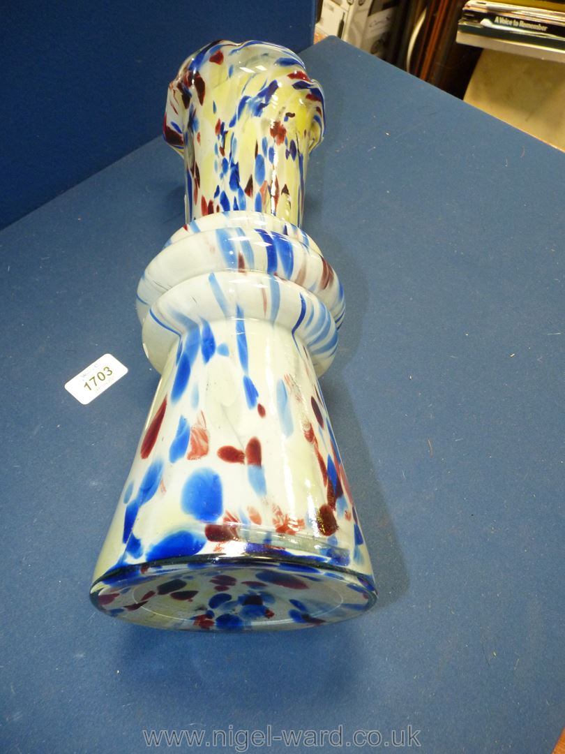 Two pieces of End of day glass including tall vase with fluted rim, 14'' tall and boat shaped bowl. - Image 3 of 3