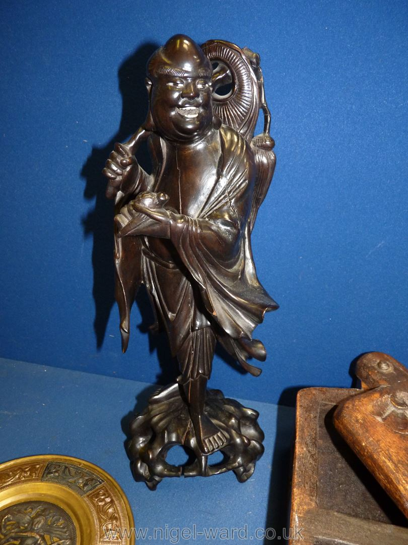 A quantity of miscellanea including wooden figure of an oriental man, - Image 3 of 3