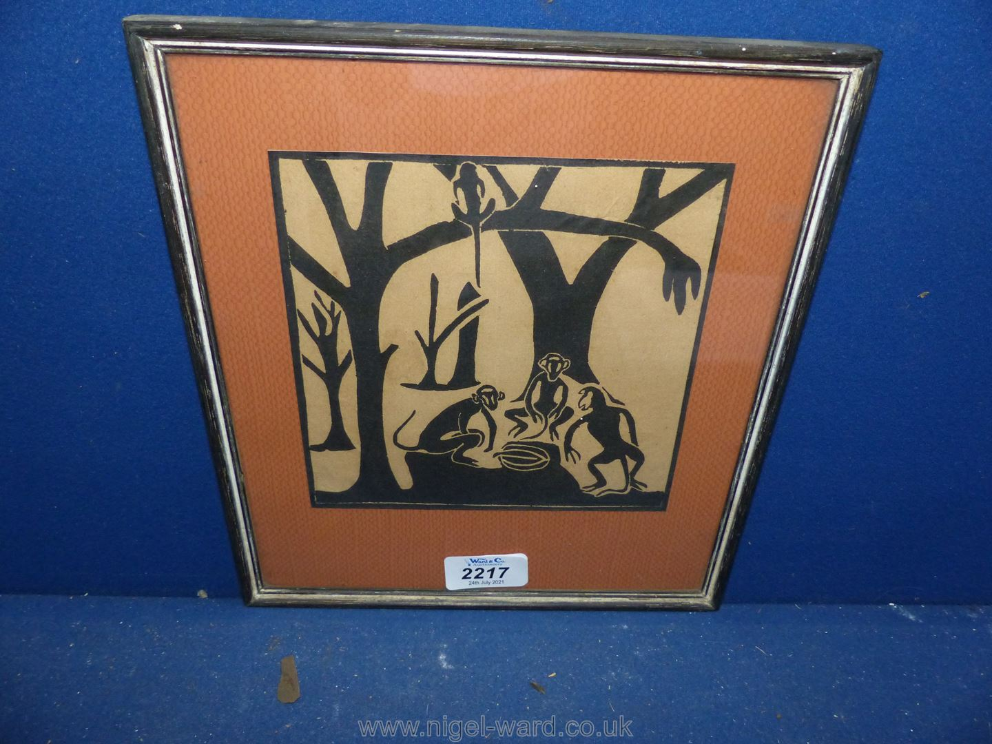 A good small Woodcut of a forest scene with monkeys- unsigned early to mid 20th c.