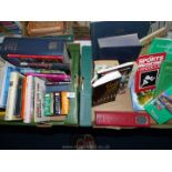 Two boxes of books to include Fishlock's Wild Tracks, Acupuncture, Flying Concorde etc.