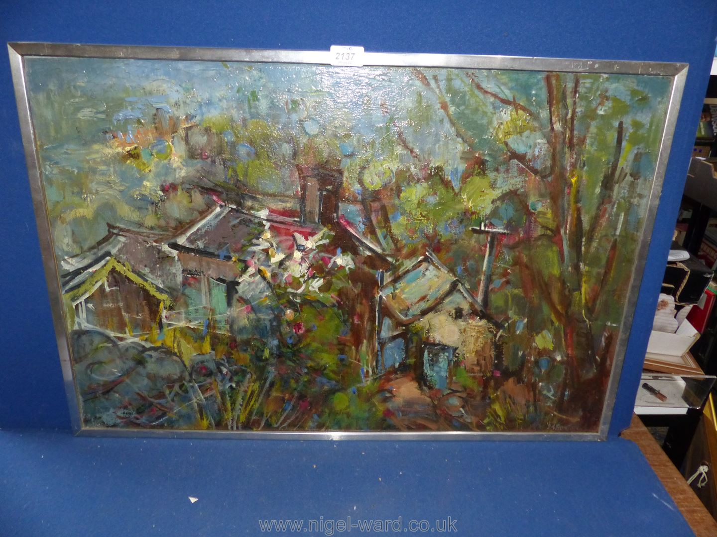 An Oil on canvas by Miriam Burton entitled 'How Gill at Kettlewell'. - Image 2 of 2