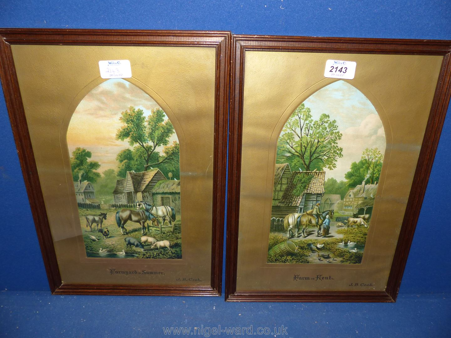 A pair of framed pictures by J.B. Cook.