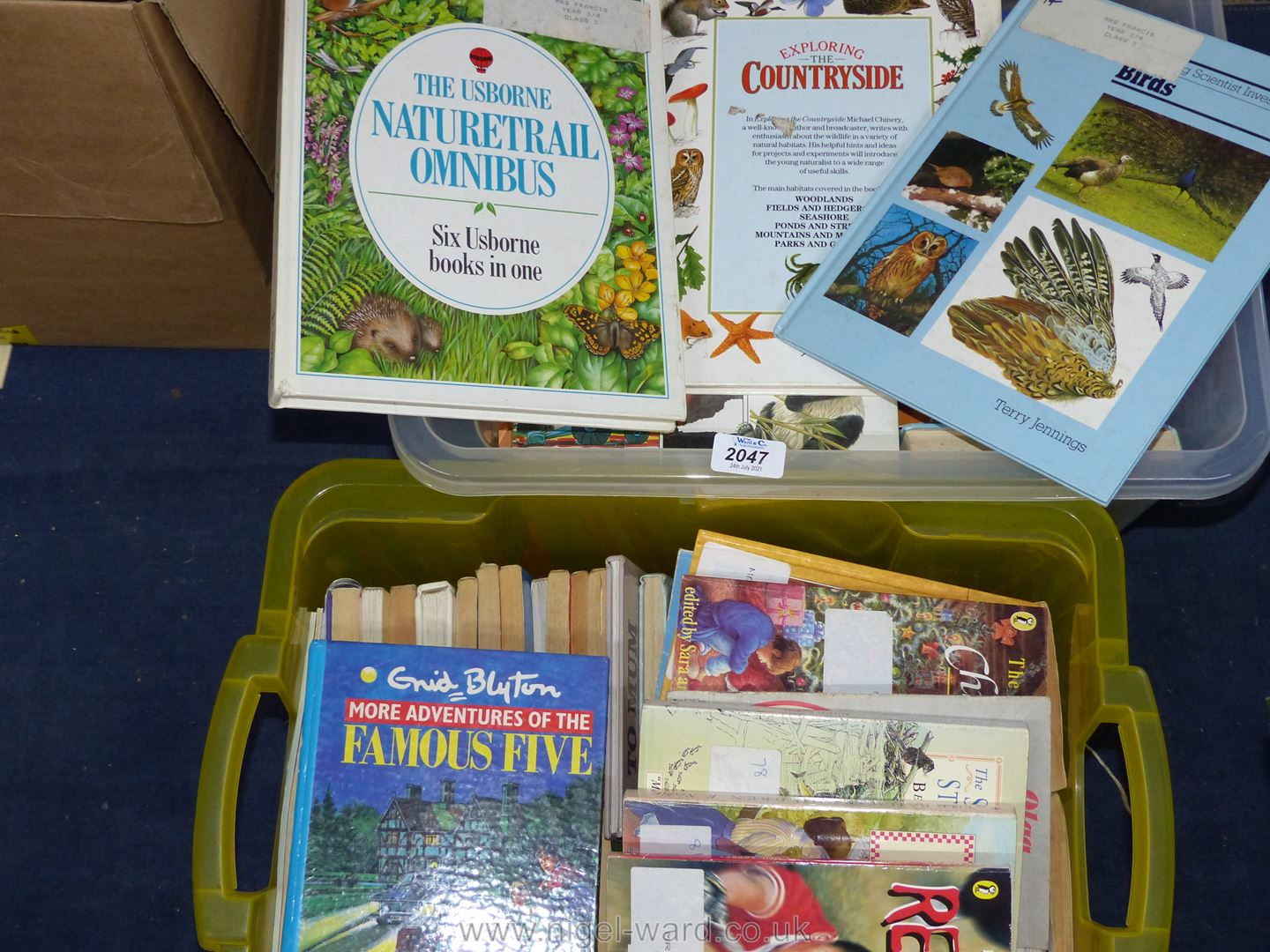 Two boxes of children's books.