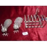 A plated Toast Rack and pair of plated Peacocks.