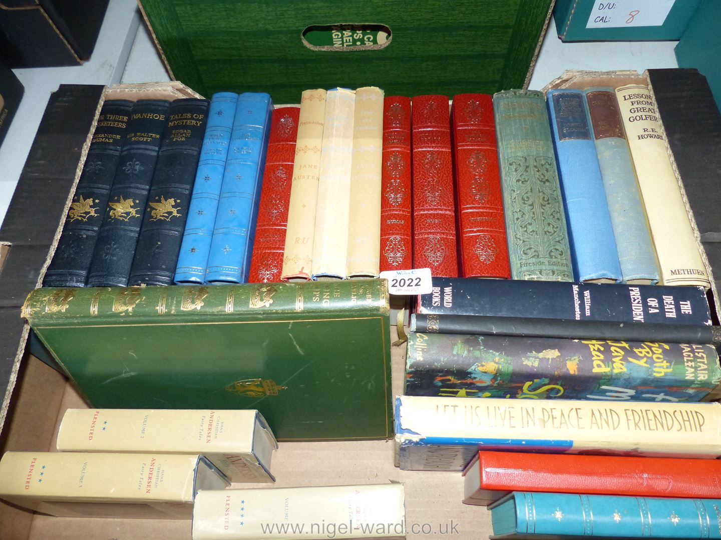 A box of books to include Jane Austin, The World Edition of Hans Christian Anderson Books etc.