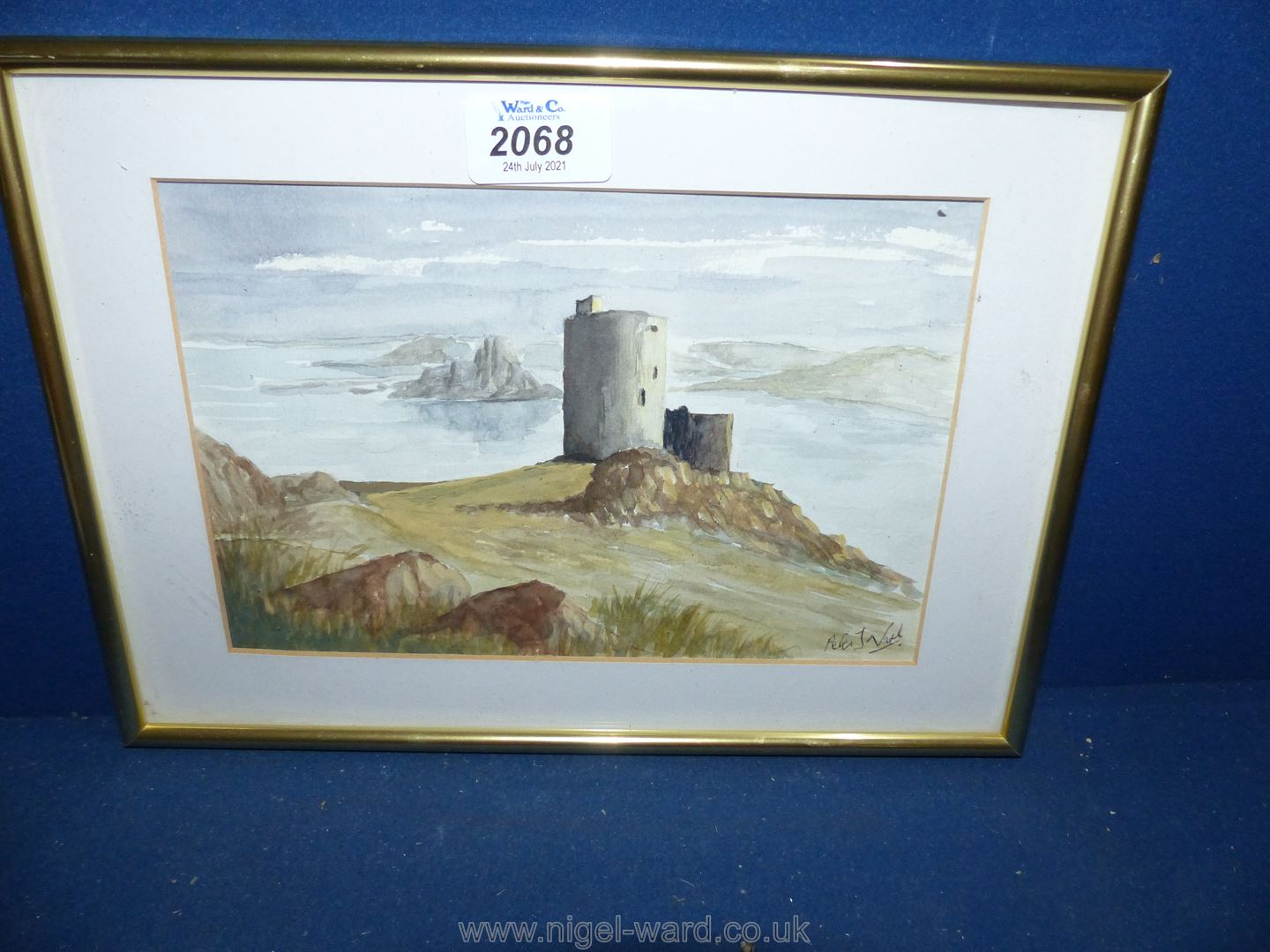 A framed and glazed watercolour of Cromwell's Castle, Isles of Scilly, signed lower right Peter J.