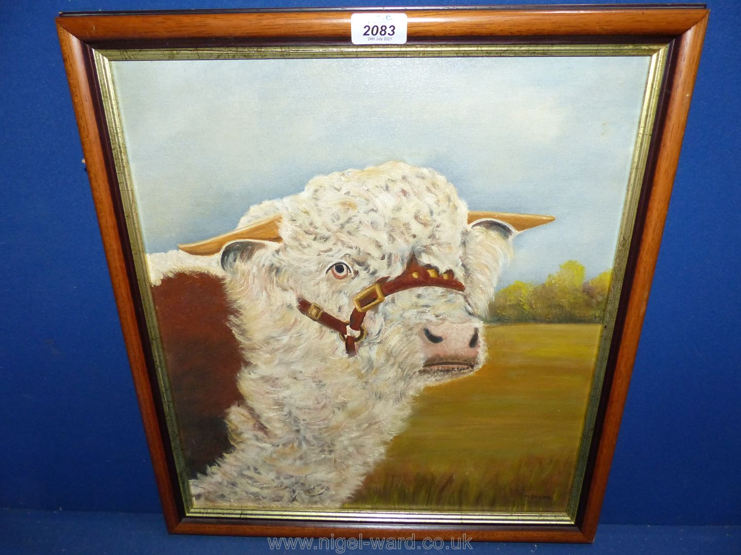 """An Oil on board depicting Hereford Bull, signed M. Green, dated verso 1987, 18"""" x 20""""."""