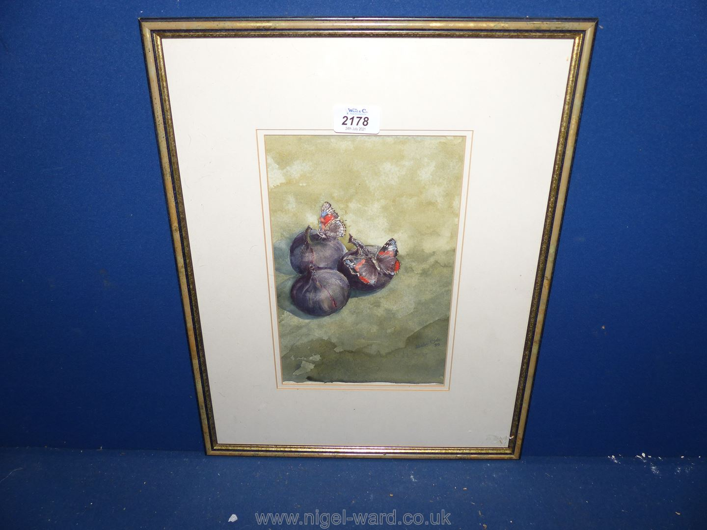 A watercolour of butterflies and figs, indistinctly signed and dated '99.