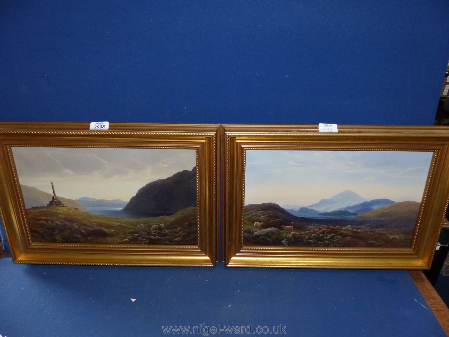 A pair of oils on canvas of Snowdonia landscapes by Thomas Finchett (1858 - 1931) : 'Moel Siabod
